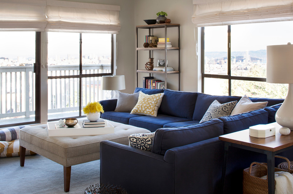 Navy Blue Sectional Sofa Design Options HomesFeed Custom How To Decorate A Sectional With Pillows