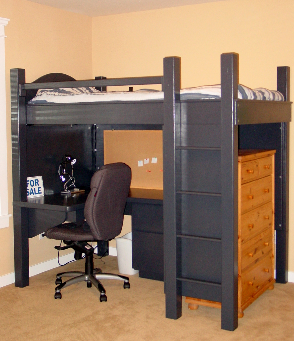 Black loft bed with desk style meets function homesfeed Black bunk beds