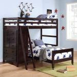 boys pics of bunk bed design with wooden frame and stars bed pattern and st9orage and wooden stairs and wall hooks and green area rug and wooden floor