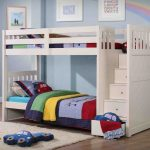 boys white pics of bunk bed idea wih storage stars and colorful bedding with cars theme and white area rug and wooden flooring and blue wall