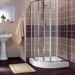 brown bathroom ideas with amazing corner shower units and standing ceramic sink plus towel holder and modern home mat