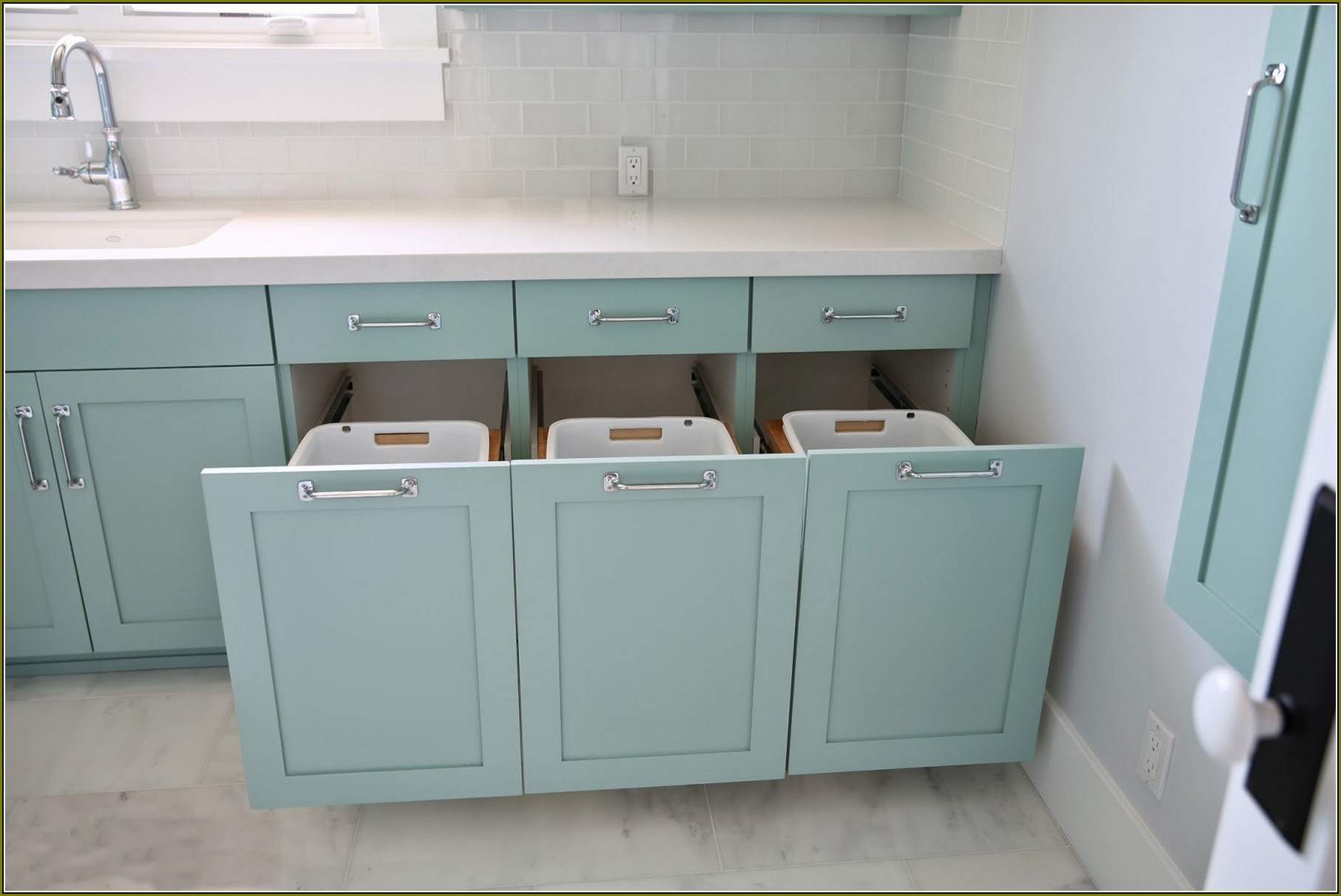 Built In And Hidden Laundry Hamper Inside Cabinet