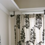 ceiling mount curtain rod idea in black stain