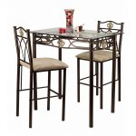 classic-3-Piece-Counter-Height-Pub-Table-Set-Crown-Bistro-by-Hazelwood-home-with-brown-and-white-cup-and-fruits-in-tall-vase-as-centerpiece