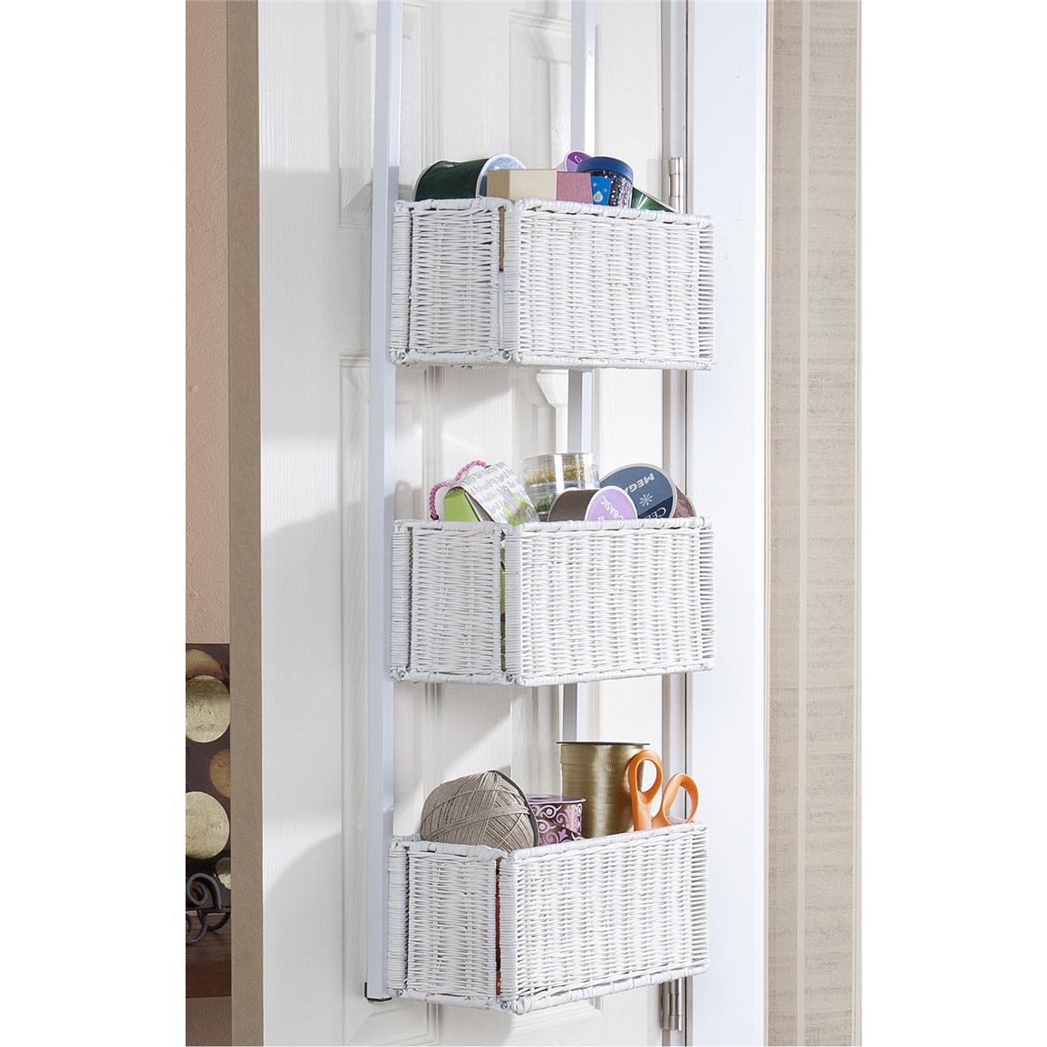 Classic And Big Over The White Door White Rattan Basket Design Storage With  Kitchen Ware