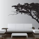 classy black and white hallway living room idea with modern sofa and white coffee table and black tree wall pattern