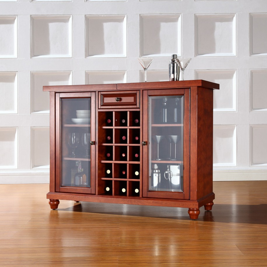 Classy Brown Storage Cabinet With Glass Doors For Dining Room Wine Storages And A Drawer