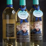 classy daycare teacher gift design in the shape of wine with card and ribbon on the neck