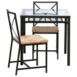 classy ikea bistro set with a square coffee table with metal leg and glass top plus storage and two beautiful chairs for patio