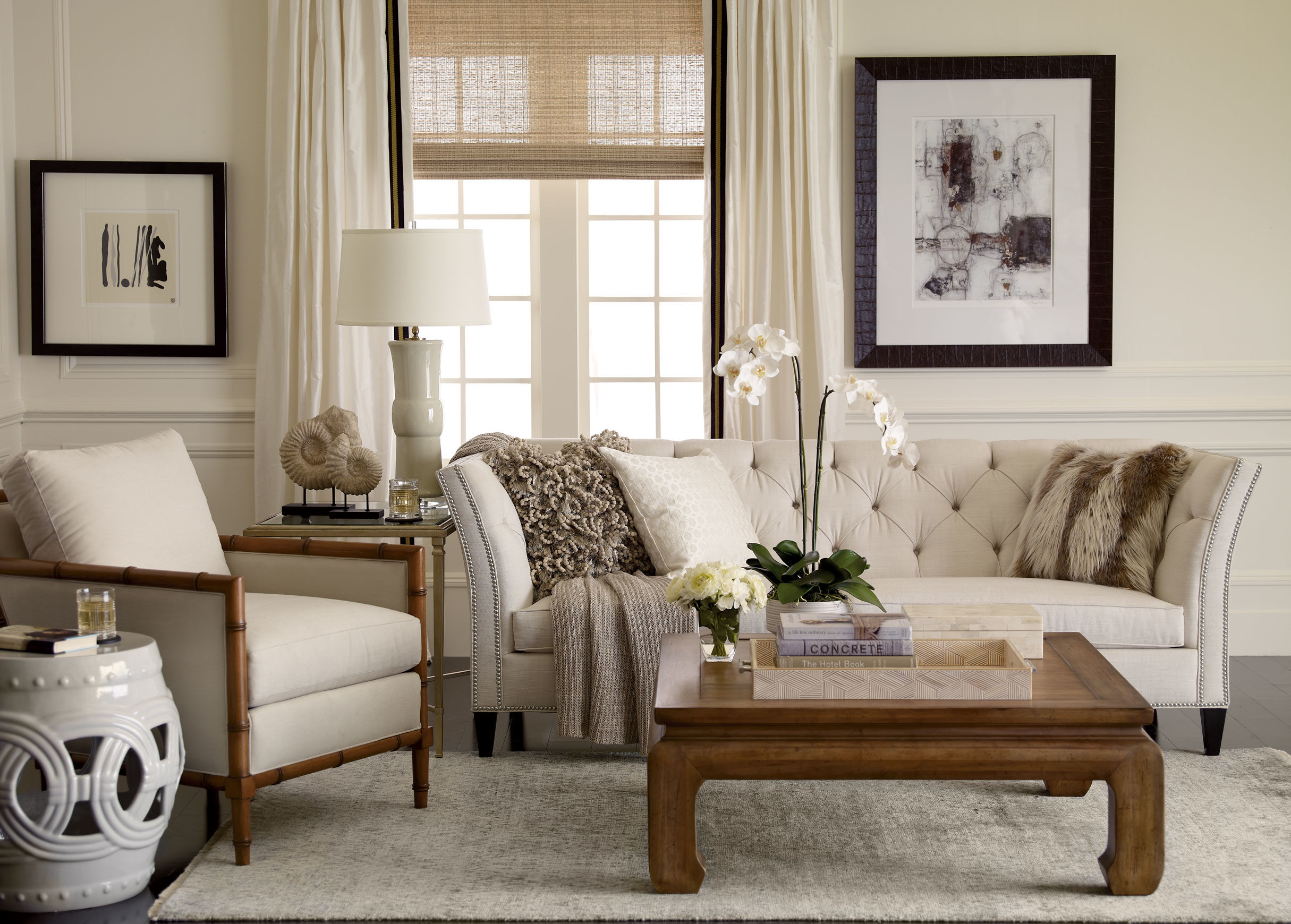 Attirant Classy Modern Living Room Ideas With White Tufted Sofa And Cozy Armchair  Plus Soft Rug Area. Ethan Allen Leather Furniture ...