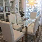 classy white dining set with tall backrest ikea chair design with rectangle glass table and patterned area rug and bookshelves and glass window