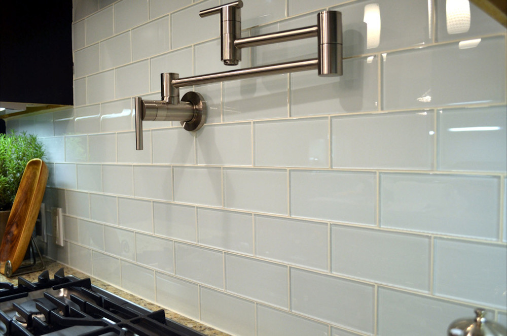 colored subway tile in white decorated in modern kitchen ideas