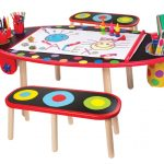 colorful oval art table for kids idea with pencil storage and canvas and palette and small bench