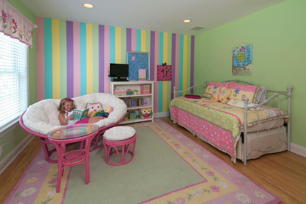 Colorful Pastel Kids Bedroom With Wide Papasan Chair