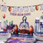 colorful super bowl party decoration idea idea on table centerpieve with ball and some food and baverage