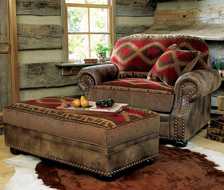 Comfortable oversized chairs with ottoman homesfeed for Lodge style living room furniture