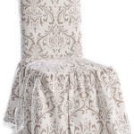 contemporary-Demask-Dining-Room-Chair-Slipcover-with-timeless-scroll-pattern-in-taupe-and-white-and-a-full-ruffled-skirt-and-full-Polyester-with-Square-back-height-up-to-40