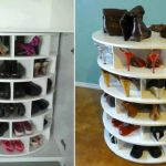 cool-and-fancy-lazy-Suzan-turntable-rotating-shoe-storage-racks-for-heels-boots-any-shoes-on-the-wooden-floor-and-blue-color