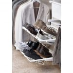 cool-and-fancy-white-elfa-shoe-rack-near-coats-and-grey-shirt-and-beige-floor