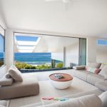 Cool Interior Design Of Beach Villa Design With Open Plan And White Seating With Ocean View