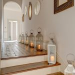 cool-mirrored-candle-holder-wall-sconce-alongside-the-hallway-and-offer-great-and-romantic-look-to-the-hallway-with-wooden-floor-and-wooden-stairs