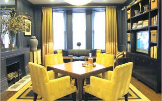 cool window treatment with single curtain rods for bay windows and yellow curtain decorated in dining room with yellow dining chair and square wooden dining table