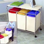 Corner Laundry Hamper With Three Sorting Bags And Removable Ironing Board Stainless  Steel Frame Strong Nylon Bottom Resists Scratches And Dents