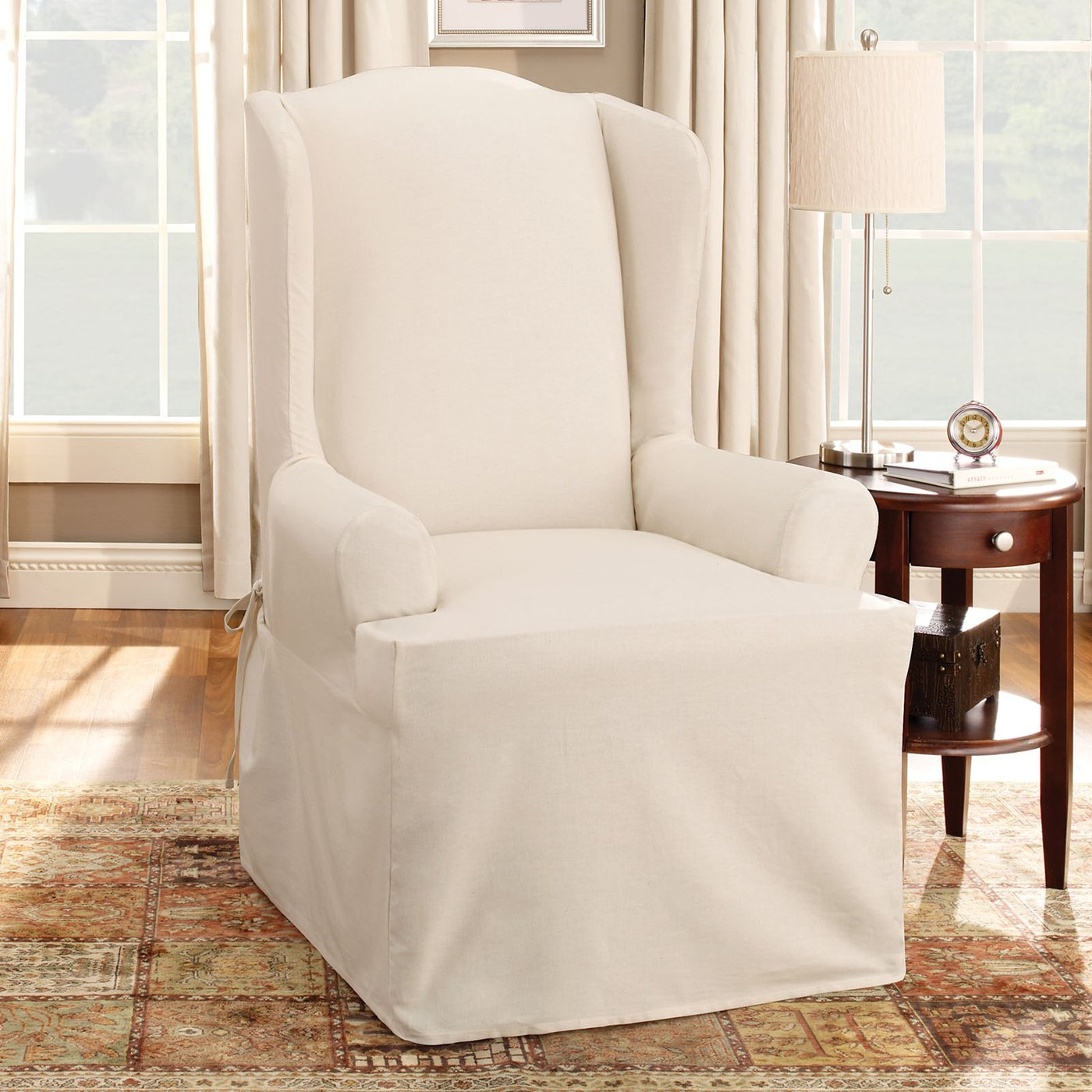 Superbe Cotton Duck Slip Cover For Chair In Natural White Combined With Round  Wooden End Table With