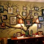 Creative Family Tree Wall With Family Photographs Hang On Tree Wallpaper And Table Lamps And Chairs And Pillows