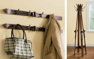 creative-reused-of-old-wooden-skis-for-coat-rack-on-the-beige-wall-and-cream-coat-and-square-white-bag-or-for-coat-rack-stands-near-window