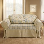 custom couch cover for sectional idea with floral pattern and creamy tone on creamy area rug and glass window and creamy wall paint