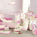 Cute And Sweet Baby Girl Bedroom With Soft Pink And Purple Theme Combined With White Crib And White Crib And Cute Pendant