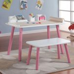 cute art table for kids idea with white top and pink legs and bench and area rug and toy and blue wall paing and glass window