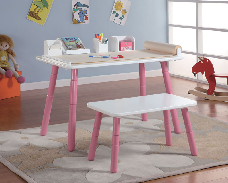 Cute Art Table For Kids Idea With White Top And Pink Legs And Bench And Area