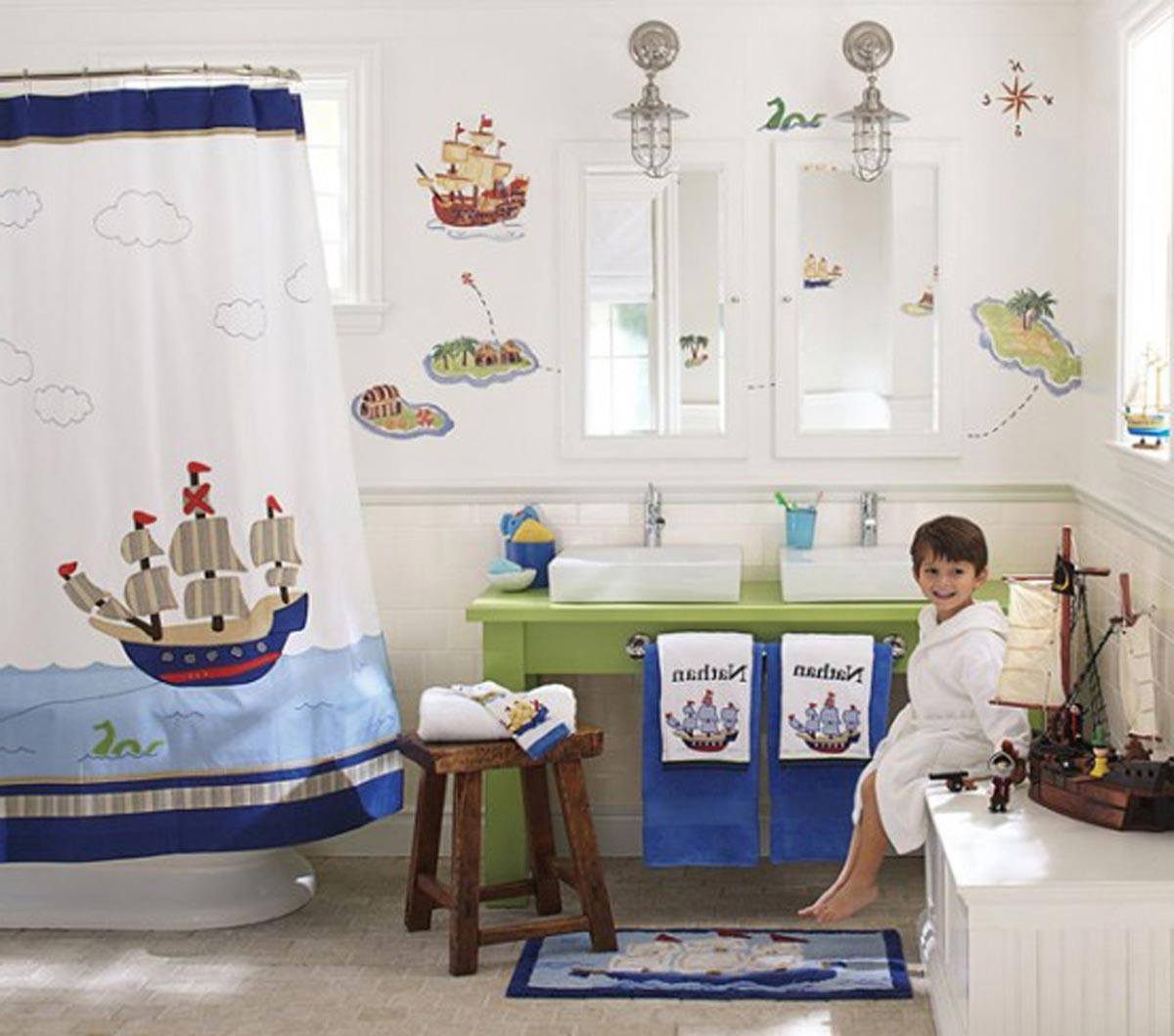 Beautiful and elegant sea themed bathroom homesfeed for Kids bathroom ideas for boys