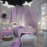 cute-elegant-luxurious-purple-little-girl-bedroom-with-purple-canopy-bed-also-playroom-area-with-teddy-bear-and-white-chair-with-ottoman-also-white-cabinet-and-white-dresser