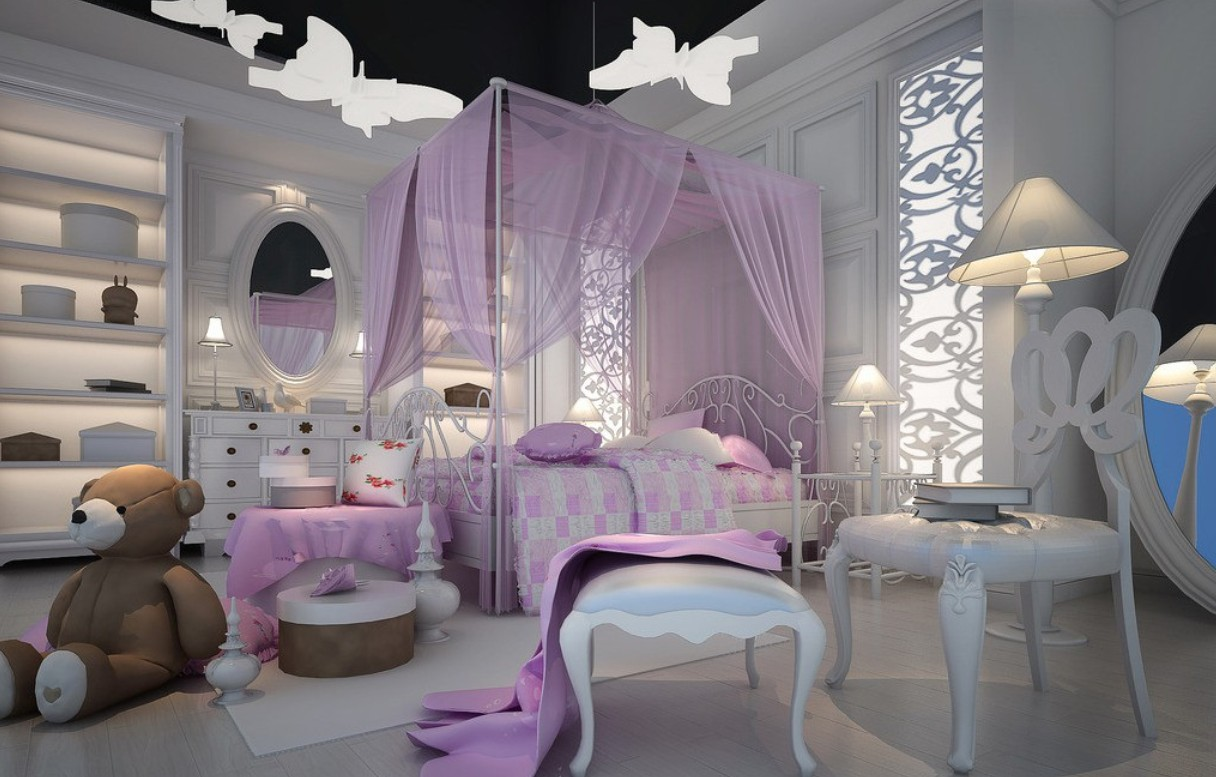 cute-elegant-luxurious-purple-little-girl-bedroom-with- & Princess and Fairy Tale Canopy Bed Concepts for Little Girls ...