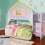cute full size toddler bed with loft bed decorated with stairway and girly bedding plus furry rug and wooden floor