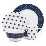 cute navy blue polka dot dishes idea of plates and bowl and cup with small and large pattern