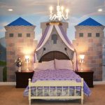 cute-princess-Cinderella-bedroom-themed-for-girls-with-white-purple-canopy-bed-between-two-brown-dresser-and-chandelier-also-CInderella-and-the-castle-themed-painted-on-the-wall