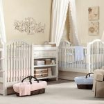 cute-sweet-and-elegant-baby-girl-bedroom-for-twins-with-canopy-for-each-crib-also-white-rug-on-the-wooden-floor