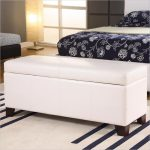 Effortless End Of Bed Storage Bench In White With Short Wooden Leg And Striped Rug For Modern Bedroom Ideas