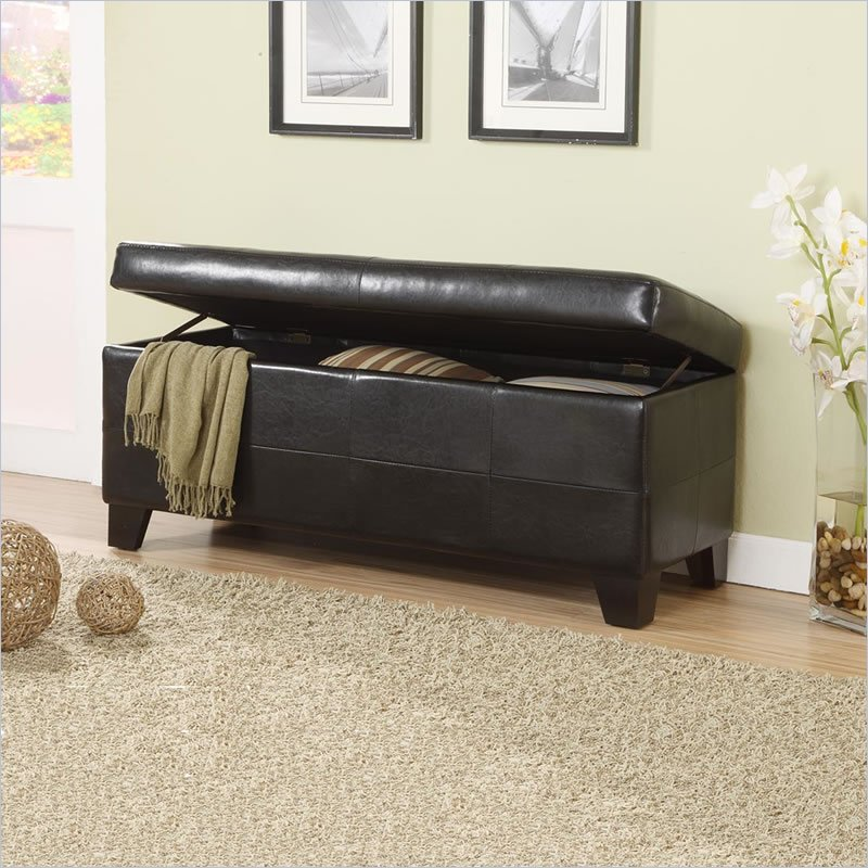Effortless Modern End Of Bed Storage Bench Made Of Leather In Brown To  Store Blanket And