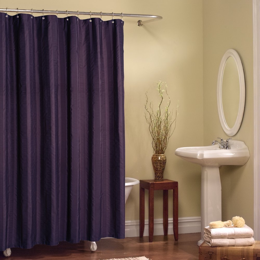 Elegant And Classy Silky Purple Art Deco Shower Curtain Idea With Wooden Small Table Freestanding
