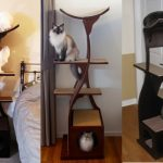 elegant-and-modern-lotus-cat-tree-or-lotus-cat-tower-with-black-brown-and-maroon-color-design-near-bed-near-grey-curtain-and-near-white-door