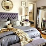 elegant bedroom ideas with old hollywood glamour decor combined with grey bedding and tufted headboard plus elegant mirror and  bench