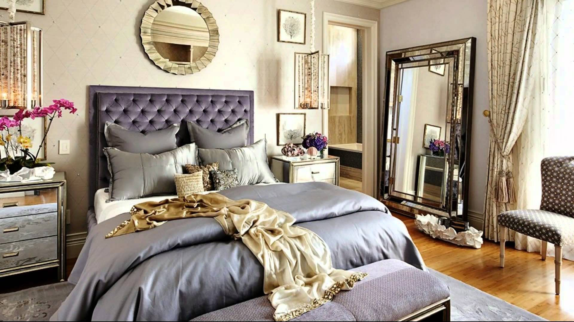 Elegant Bedroom Ideas With Old Hollywood Glamour Decor Combined Grey Bedding And Tufted Headboard Plus