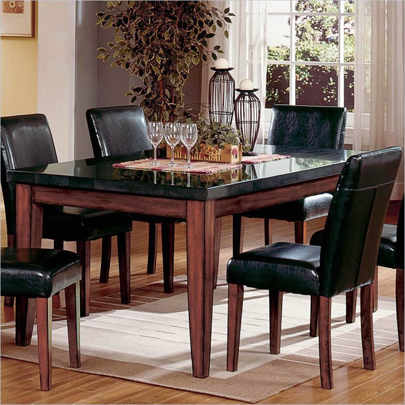 Black granite dining table set stocktonandco Black marble dining table set