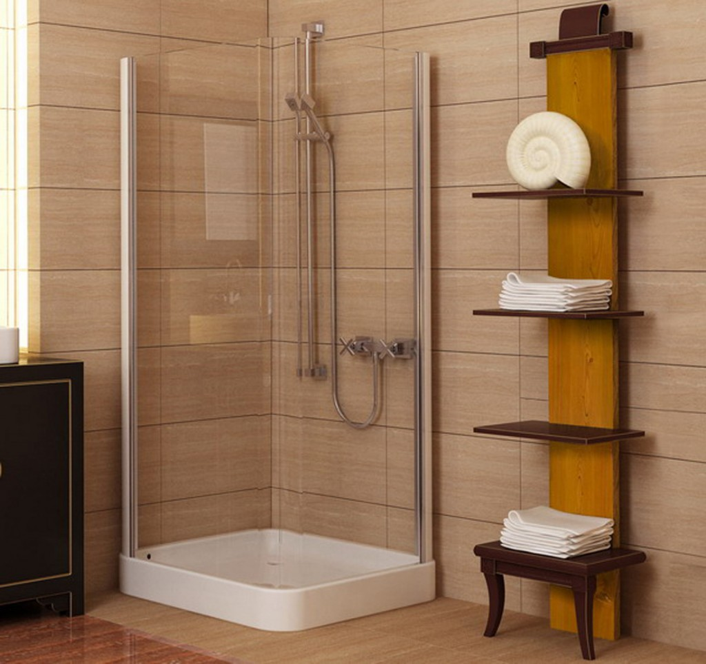 Elegant Brown And Yellow Wooden Towel Shelf With Creamy Siding Corner Shower Floor