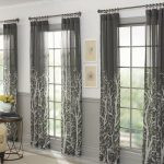 elegant gray home garden curtain design with glass window and rod and creamy sofa and black end table
